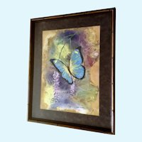 Don Elledge, Gorgeous Metallic Blue Butterfly Mixed Media Painting