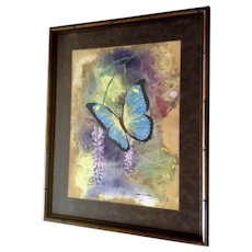 Don Elledge, Gorgeous Metallic Blue Butterfly Mixed Media Painting Signed By Artist