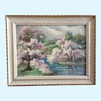 Esther Patterson, Pink Trees In Bloom Landscape Oil Painting