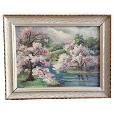 Esther Patterson, Pink Trees In Bloom Landscape Oil Painting Signed by Artist