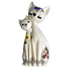 Mid-Century White Floral Atomic Cats Eyelashes Closed Eyes Tall Long Neck Figurine Rare