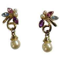 Vintage Beautiful Multicolored Gold-tone Faux Pearl Earrings Pierced Ears Costume Jewelry