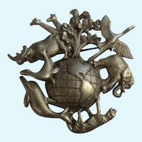 Earth Animals Around a World Pewter Brooch Pin AJC Costume Jewelry
