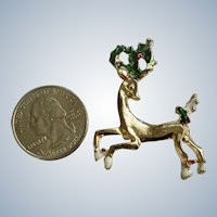 Christmas Reindeer Pin Gold-Tone With Holly Berries