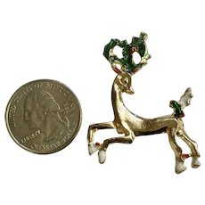 Little Gold-Tone Reindeer Brooch Pin With Holly Berries in Antlers Costume Jewelry