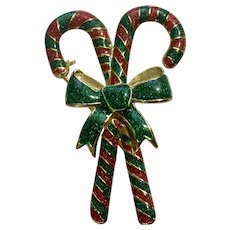 Beautiful Glitter Green and Red Candy Canes With Green Bow Christmas Brooch Pin Costume Jewelry