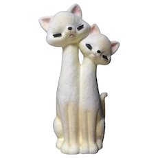 Vintage Mid-Century Yellow Atomic Cats Eyelashes Closed Eyes Tall Long Neck Figurine Planter Vase Rare Inarco Japan
