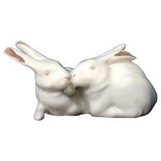 Royal Copenhagen Denmark Porcelain White Bunny Rabbits Figurine #518