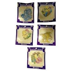 Mid-Century 60 Dennison Foil Paper Easter Bunny & Chick Seals Ephemera Stickers
