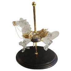 Crystal Glass Stargazer Carousel Horse Designer William Dentzel III Franklin Mint Figurine