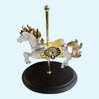 Crystal Glass Jumper Carousel Horse Designer William Dentzel III Franklin Mint Figurine