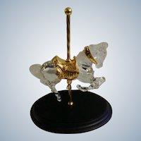 Crystal Glass Prancer Carousel Horse Designer William Dentzel III 1990 Franklin Mint Figurine
