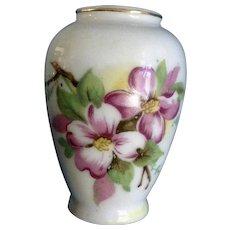 Miniature Mid-Century Porcelain Vase Transferware Floral Design For Dollhouse Diorama
