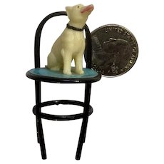 Vintage Celluloid Puppy Dog On A Chair Japan