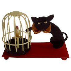 Vintage Celluloid Black Cat and Bird Cage Very Rare Early 20th Century Japan