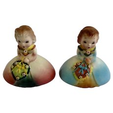 Adorable Little Girl Salt and Pepper Shakers Mid-Century S&P  Japan Figurines