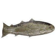 Vintage Arthur Court Fish Serving Aluminum Platter Plate 1986 Jasper Red Eye