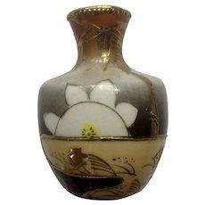 Miniature Moriage Porcelain Ceramic Art Pottery Vase Floral Goldfish and Mt Fuji Dollhouse Diorama Japan