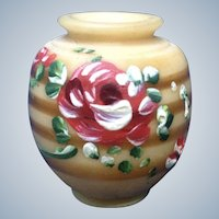 Miniature Resin Style Vase With Hand Painted Flowers For Dollhouse Diorama Made in Ecuador
