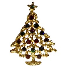 Gold-Tone Christmas Tree With Multi-Colored Rhinestone Decorations Brooch Pin