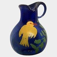 Hand Blown Miniature Cobalt Blue Glass Vase With Yellow Bird For Dollhouse Diorama