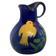 Hand Blown Miniature Cobalt Blue Glass Vase With Yellow Bird For Dollhouse Diorama