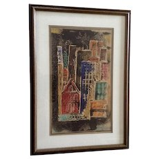 Katherine Murdock, Cityscape Mixed Media Tempera Painting Works on Paper Signed by Artist