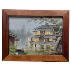 Masa, Asian Rainy Day 1940's Oil Painting on Canvas Signed By Artist