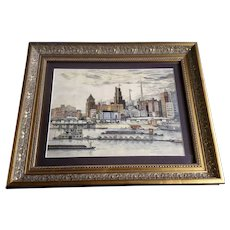 Christine Muster St Louis Waterfront 1949 Cityscape Watercolor Painting