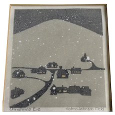 Sabra Johnson Field, Christmas Eve, Snow Covered Town Landscape Early Woodblock Print Signed By Vermont Artist