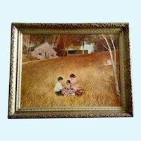 Children's Picnic Landscape Pastoral Scene Mid-Century Lithography Print