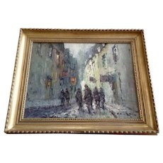 Dane, Impressionist Figural's in European City Scene Oil Painting on Canvas Signed by Artist