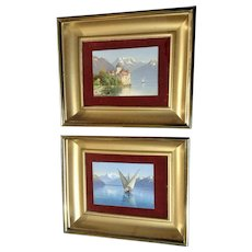 Pair of Miniature Oil Paintings, Lake Geneva, Switzerland Château de Chillon and Fishing Boat