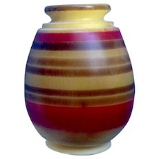 Miniature Resin Style Vase With Hand Painted Red and Brown Stripes Dollhouse Diorama Made in Ecuador