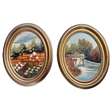 Pair of Naive Oil Paintings of Italian Countryside Souvenir Art