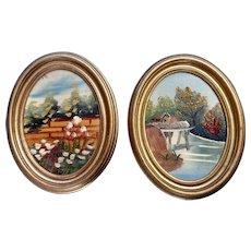 Pair of Naive Oil Paintings of Italian Countryside Souvenir Art