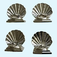 Heavy Silver Plate Metal Pecten Scallop Shell Place Card Settings Made in Japan