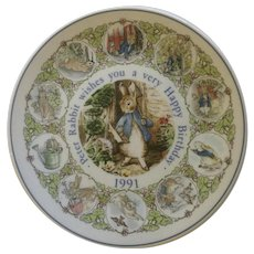 Peter Rabbit 1991 Happy Birthday Wishes Wedgwood Fine China Plate England Beatrix Potter