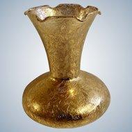 Beautiful 22KT Gold Encrusted Glass Vase Glastonbury Lotus Floral Embossing
