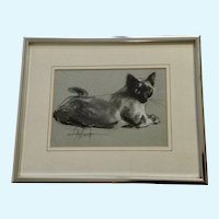 L. A. Wood, Blue Eyed Siamese Cat Pastel Painting