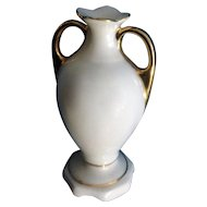 Miniature Porcelain Ceramic Art Pottery Urn Vase White Hand Painted Gold Accents For Dollhouse Diorama