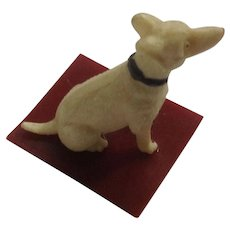 Circa 1930's Celluloid Puppy Dog Red Base Animal Japan Figurine