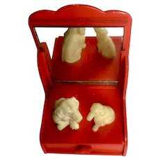 Circa 1930's Celluloid Puppy Dogs Sitting On Mirrored Red Vanity Dresser Animal Japan Figurines