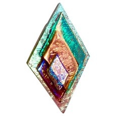 Gorgeous Modern Art Glass Iridescent Diamond Parallelograms Pink, Blue, Purple and Green Brooch Pin Costume Jewelry