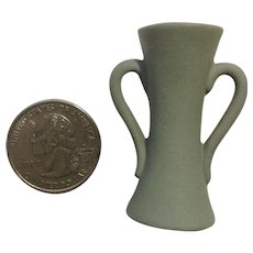 Miniature Jasperware Green Bisque Porcelain Vase Embossed with Two Handles Germany Dollhouse Diorama