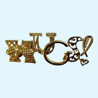 Hugs! Gold-Tone Christian Brooch Pin Costume Jewelry