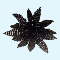 Vintage Black Beaded Flower Mourning Brooch Pin Costume Jewelry