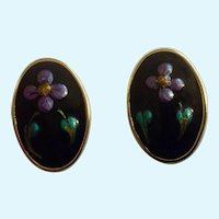 Vintage Purple Flowers Enamel on Gold-Tone Stud Post Pierced Ear Earrings