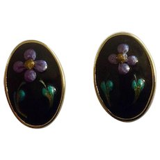 Vintage Purple Flowers Enamel on Gold-Tone metal Backing Stud Post Pierced Ear Earrings Costume Jewelry
