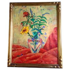 Karen Gillis Taylor, Wildflowers in a Crystal Heart Vase, Acrylic Painting on Canvas, Signed by Contemporary Impressionist Colorado Artist